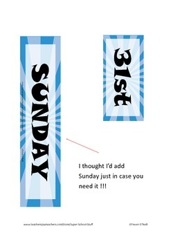 Daily Schedule Calendar Cards-93pc-Sunray-Blue