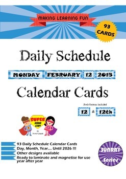 Daily Schedule Calendar Cards-93pc-Sunray-Blue