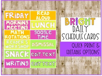 Daily Schedule Cards - BRIGHT - EDITABLE
