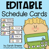 EDITABLE Daily Schedule Cards (black & white polka dot)