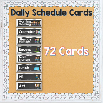 Daily Schedule Cards Black Chalkboard
