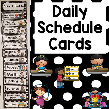Daily Schedule Cards- Black & White Dots