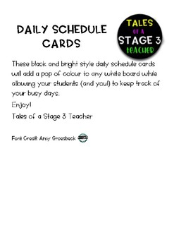 Daily Schedule Cards - Black and Bright