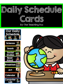 Daily Schedule Cards {Black and Rainbow Version}