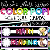Daily Schedule Cards Black and White Stripe Color POP! Editable