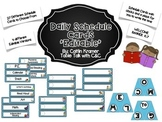 Daily Schedule Cards (Blue Chevron)