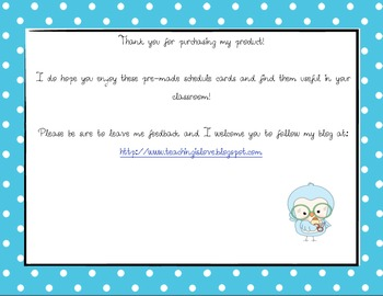 Daily Schedule Cards-Blue Polka-Dot!