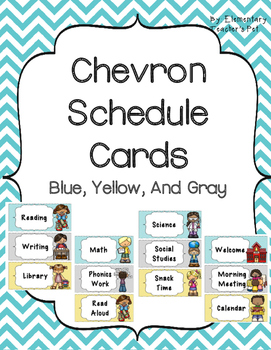 Daily Schedule Cards- Blue, Yellow, and Gray Chevron