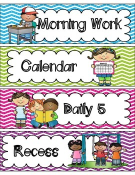 Daily Schedule Cards (Bright Chevron)