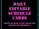Daily Schedule Cards- Bright Colors on black background wi