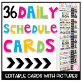 Daily Schedule Cards (Bright and Editable)