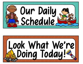 Daily Schedule Cards (Camping Theme)
