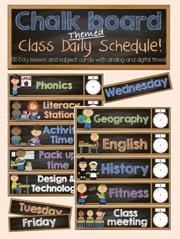 Daily Schedule Cards- Chalkboard Theme