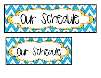 Daily Schedule Cards - Chevron!
