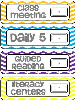 Daily Schedule Cards - Chevron {EDITABLE}