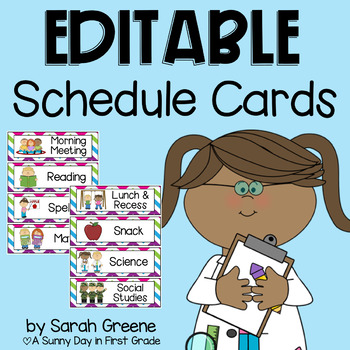 EDITABLE Daily Schedule Cards {chevron}