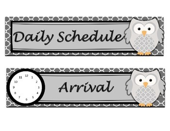 Daily Schedule Cards - Dark Gray and Owls