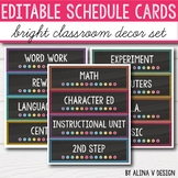 Daily Schedule Cards EDITABLE Black and Bright Classroom Decor