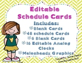 Daily Schedule Cards EDITABLE Melonheadz
