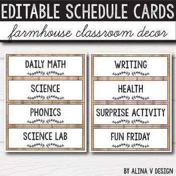 Daily Schedule Cards EDITABLE -  Vintage Classroom Decor