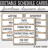 Daily Schedule Cards Editable Farmhouse Classroom Decor
