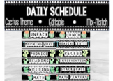 Daily Schedule Cards Editable- Cactus Theme