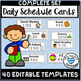 Daily Schedule Cards Editable Template with Editable Times and Blank Cards