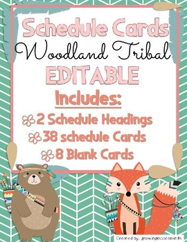 Daily Schedule Cards Editable Woodland Tribal