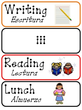 Daily Schedule Cards - English/Spanish
