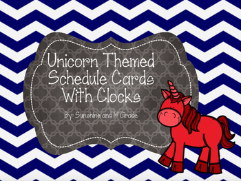 Daily Schedule Cards Fairy Tale/Unicorn Theme with Clocks