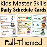 Visual Daily Schedule Cards Fall-Themed Editable