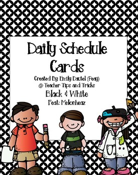 Daily Schedule Cards Featuring Melonheadz *Black & White Background*