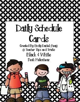 Daily Schedule Cards Featuring Melonheadz *Black & White Background*