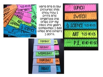 Daily Schedule Cards For Pocket Charts!  4 Different Styles! Editable