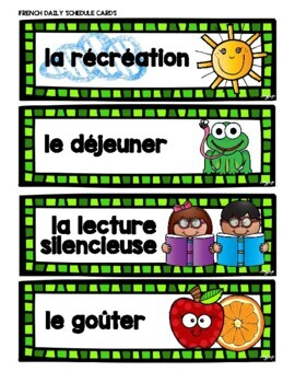 French Schedule Cards - Set 1