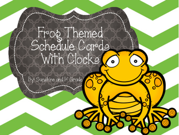 Daily Schedule Cards Frog Theme with Clocks