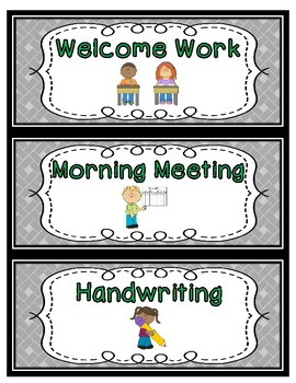 Daily Schedule Cards--Green Font Color