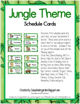 Jungle Theme Daily Schedule Cards