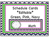 Daily Schedule Cards, Labels *Editable* Green, Navy, Pink,
