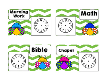 Daily Schedule Cards Ladybug Theme with Clocks