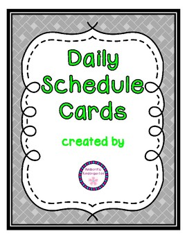 Daily Schedule Cards--Lime Font Color