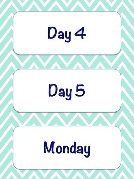 Daily Schedule Cards {Mint Chevron}