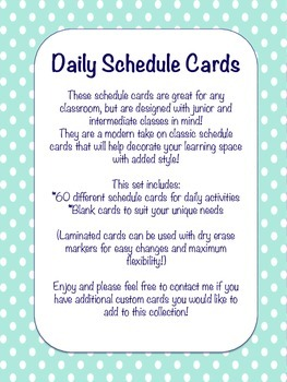 Daily Schedule Cards {Mint Polka Dots}