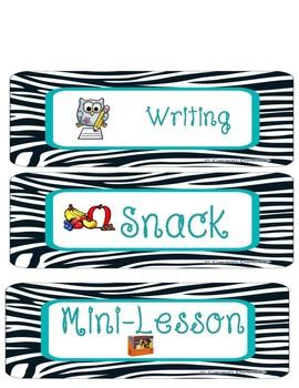 Daily Schedule Cards Mint Zebra