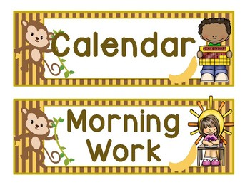 Daily Schedule Cards - Monkey Theme
