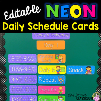 Editable Daily Schedule Cards - NEON Decor