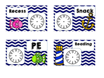 Daily Schedule Cards Nautical Theme with Clocks