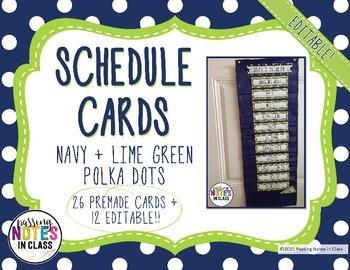Daily Schedule Cards | Navy + Lime Green (EDITABLE)