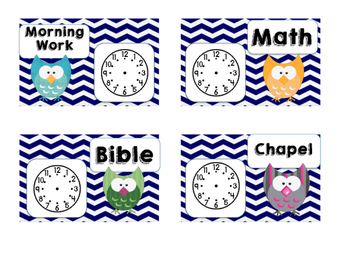 Daily Schedule Cards Owl Theme with Clocks