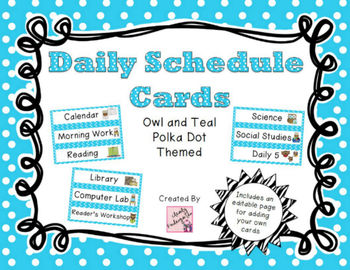 Daily Schedule Cards - Owl and Blue Polka Dot Theme